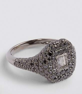 Shay Black Gold and Diamond New Modern Pave Pinky Ring