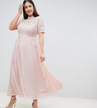 Asos John Zack Plus High Neck Cutwork Lace Top Maxi Dress