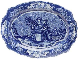 """One Kings Lane 20"""" Ceramic Harvest Platter - Blue/White"""