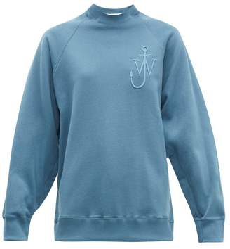 J.W.Anderson Oversized Button Sleeve Cotton Jersey Sweatshirt - Womens - Blue