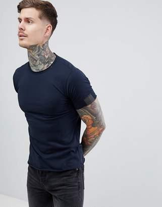 Replay raw hem crew neck t-shirt in blue