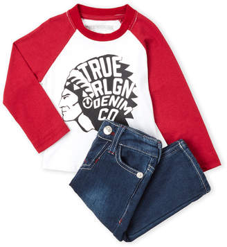 True Religion Infant Boys) Two-Piece Logo Raglan Tee & Jeans Set