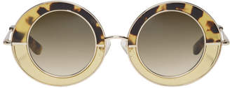 Erdem Gold Linda Farrow Edition Round Sunglasses