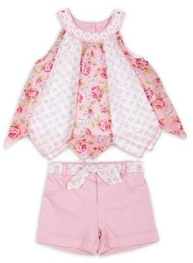 Little Lass Little Girl's Two-Piece Floral Chiffon Top and Shorts Set