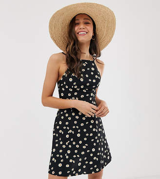 Asos Tall DESIGN Tall High neck low back mini sundress in daisy print