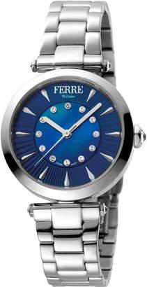 Ferré Milano Women's 32mm Stainless Steel 3-Hand Watch with Bracelet, Steel/Blue