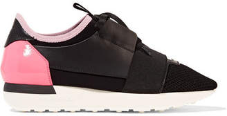 Balenciaga - Race Runner Leather, Mesh And Neoprene Sneakers - Black $480 thestylecure.com