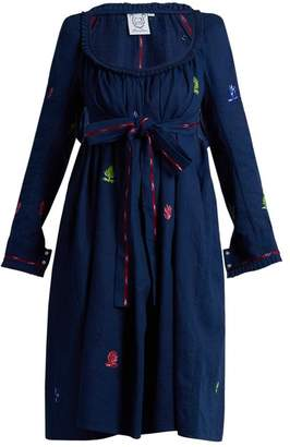 Thierry Colson Rosine Floral Embroidered Cotton Dress - Womens - Blue Multi