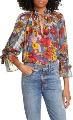 Alice + Olivia Julius Floral Print Raglan Sleeve Blouson Tunic