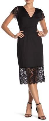 Nanette Lepore NANETTE Lace Trim V-Neck Sheath Dress
