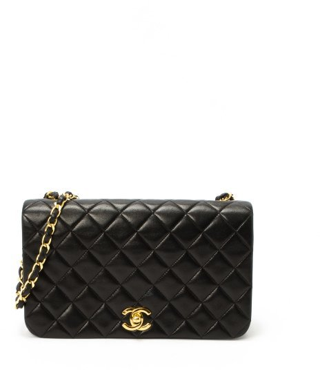 Chanel Pre-owned: black lambskin matelasse chain shoulder bag