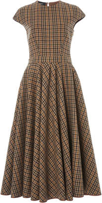 Rochas Pleated Checked Wool Dress