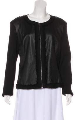 St. John Leather-Accented Zip-Up Jacket