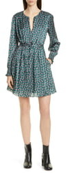 Jason Wu Mini Floral Print Long Sleeve Silk Dress
