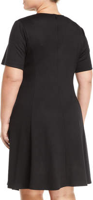 Lafayette 148 New York Aveena Short-Sleeve Wool Fit-&-Flare Dress, Plus Size