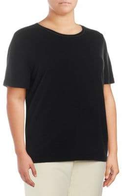 Lafayette 148 New York Plus Short-Sleeve Cashmere Sweater