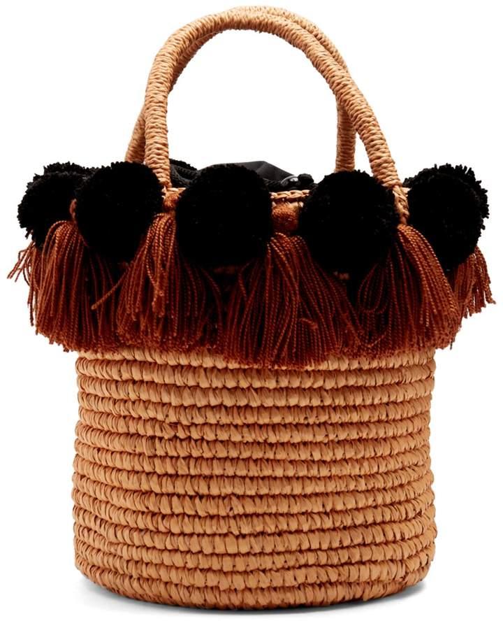 SENSI STUDIO Pompom-embellished toquilla-straw basket bag