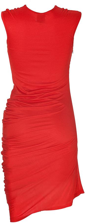 McQ by Alexander McQueen Cadmium Red Asymmetrical Jersey Dress