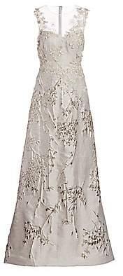 Teri Jon by Rickie Freeman Women's Metallic Floral Embroidered & Appliqué Sheer Yoke A-Line Gown