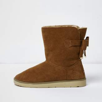 River Island Womens Light Brown bow faux fur lined short boots