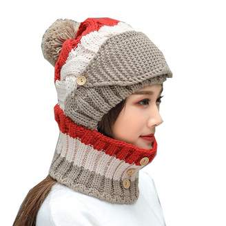 7e0672cd7 e-youth 3-Pieces Winter Hat Scarf Mask Set Warm Knit Beanie Hat Women
