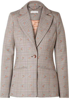 Altuzarra Embroidered Checked Wool-blend Blazer - Beige