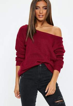 Missguided Burgundy Off Shoulder Knit Sweater