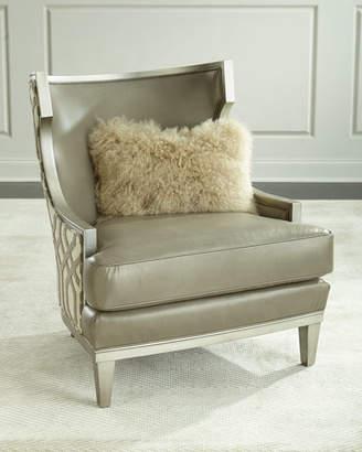 Massoud Harding Leather Wingback Chair, Gray Metallic
