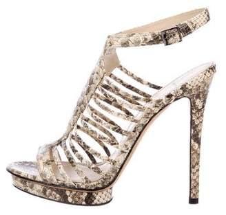 Brian Atwood Snakeskin High Heel Sandals