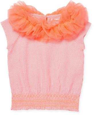 Billieblush Little Girl's & Girl's Ruffled Seersucker Top