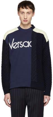 Versace Navy and White Hybrid Sweater