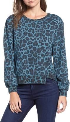 Pam & Gela Leopard Offset Hem Sweatshirt