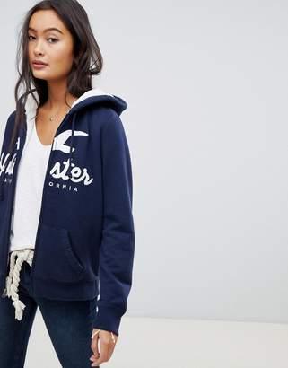 Hollister teddy lined zip through hoodie