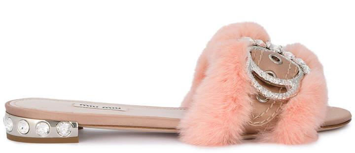 Miu Miu pink fur crystal buckle slides