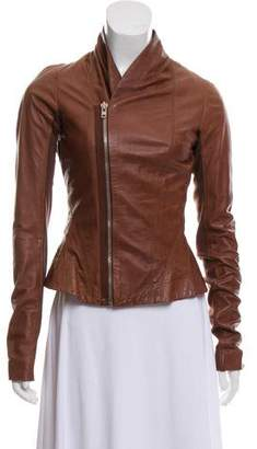 Rick Owens Rib Knit Trim Leather Jacket
