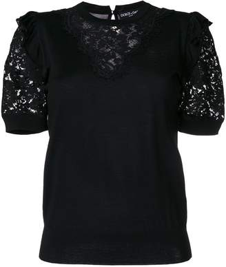Dolce & Gabbana lace panel T-shirt