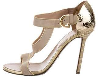 Sergio Rossi Metallic Leather-Trimmed Suede Sandals