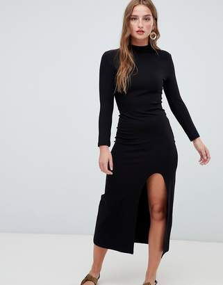Stradivarius high neck dress in black