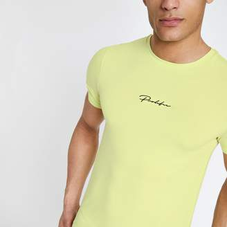 River Island Mens Yellow 'Prolific' muscle fit T-shirt