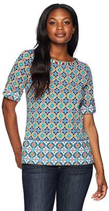 Ruby Rd. Women's Roll-Tab Elbow Sleeve Printed Cotton Knit Top