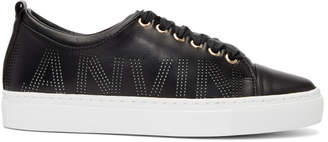 Lanvin Black Nappa Perforated Logo Sneakers