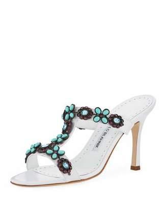 Manolo Blahnik Lla Leather Embellished Slide Sandal