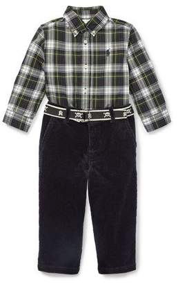 Ralph Lauren Childrenswear Plaid Poplin Collar Shirt w/ Corduroy Pants & D-Ring Belt, Size 6-24 Months