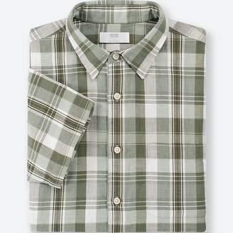 Uniqlo MEN Linen Cotton Checked Short Sleeve Shirt