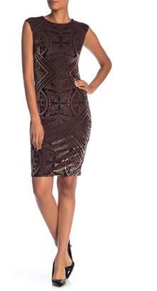 Vince Camuto Velvet Cap Sleeve Geo Printed Dress