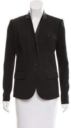 Yigal Azrouel Cut25 by Leather-Trimmed Button-Up Blazer w/ Tags