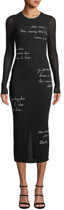 Cinq à Sept Ruffin Embroidered Long-Sleeve Midi Dress
