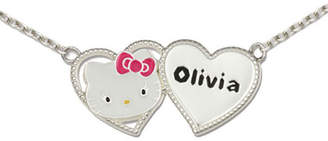 Hello Kitty FINE JEWELRY Personalized Girls Sterling Silver and Enamel Two Heart Necklace
