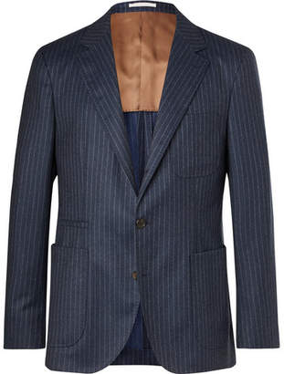 Brunello Cucinelli Navy Slim-Fit Unstructured Chalk-Striped Wool Suit Jacket - Navy