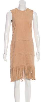 Rachel Zoe Fringe-Trimmed Suede Dress w/ Tags